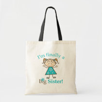 I'm Finally a Big Sister Stick Figure Girl Tote Bag