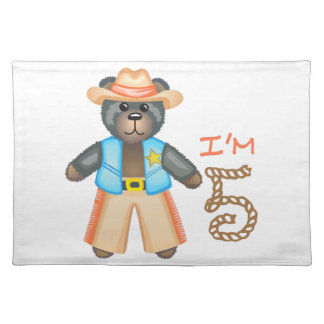 IM FIVE BIRTHDAY BEAR CLOTH PLACEMAT