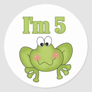 I'm Five Frog Tshirts and Gifts Classic Round Sticker