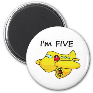 I'm Five, Yellow Plane 2 Inch Round Magnet