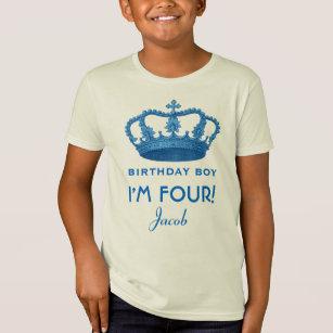 4th Birthday Custom Name Crown Gift Idea T Shirt