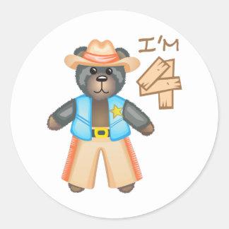 IM FOUR BIRTHDAY BEAR CLASSIC ROUND STICKER