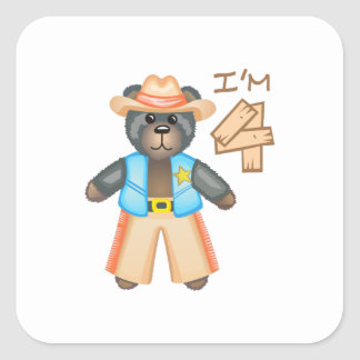 IM FOUR BIRTHDAY BEAR SQUARE STICKER