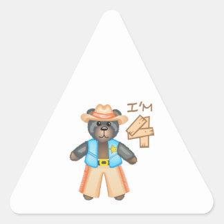 IM FOUR BIRTHDAY BEAR TRIANGLE STICKER