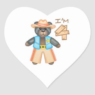IM FOUR BIRTHDAY BEAR HEART STICKER