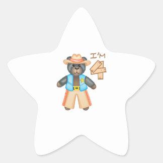 IM FOUR BIRTHDAY BEAR STAR STICKER