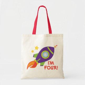 I'm Four Rocketship 4th Birthday Gift Tote Bags