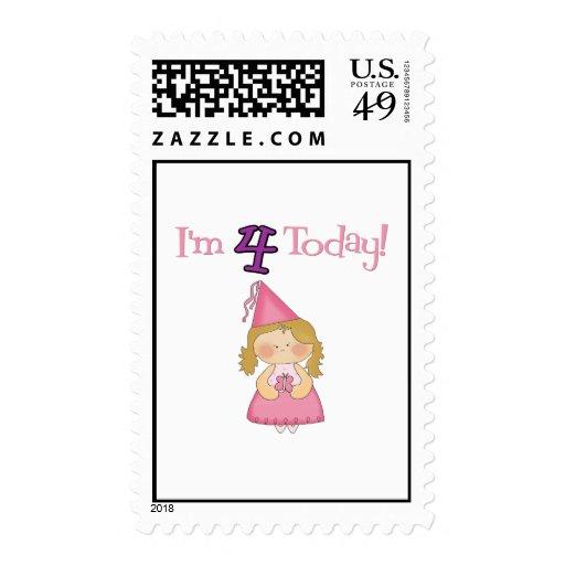 I'm FOUR Today! Princess Design! Postage Stamps
