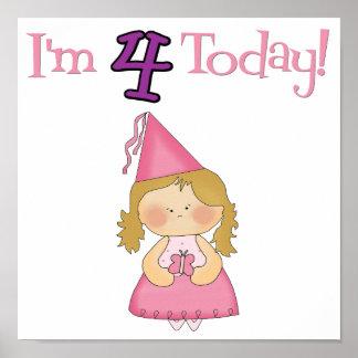 I'm FOUR Today!  Princess Design Poster