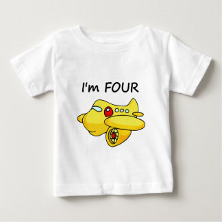 I'm Four, Yellow Plane Baby T-Shirt