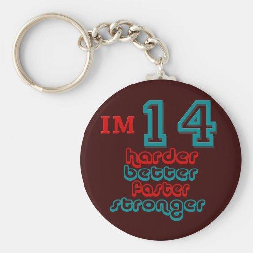 I'm Fourteen. Harder Better Faster Stronger! Birth Basic Round Button Keychain