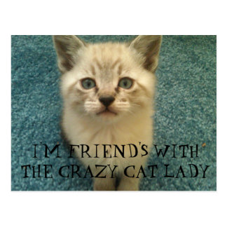 I'M FRIEND'S WITH THE CRAZY CAT LADY POSTCARD
