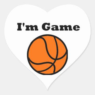 I'm Game (Basketball) Heart Sticker
