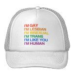 I'M GLBT I'M HUMAN TRUCKER HAT