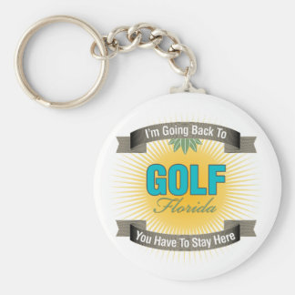 I'm Going Back To (Golf) Basic Round Button Keychain