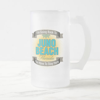 I'm Going Back To (Juno Beach) Frosted Glass Beer Mug