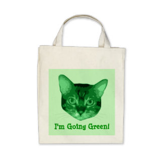 Im Going Green Kitty Organic Grocery Tote Tote Bags