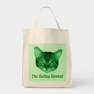 Im Going Green Kitty Organic Grocery Tote Grocery Tote Bag
