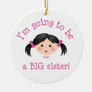Im going to be a big sister - asian girl ceramic ornament