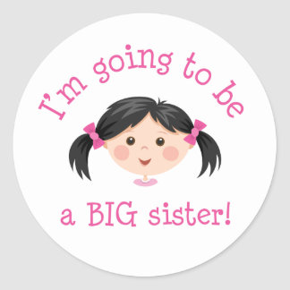 Im going to be a big sister - asian girl classic round sticker