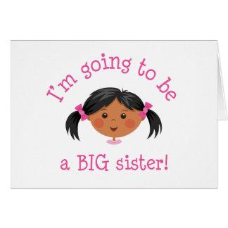 Im going to be a big sister - black hair dark skin card