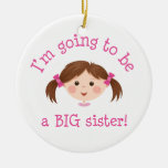 Im going to be a big sister - brown hair christmas ornament