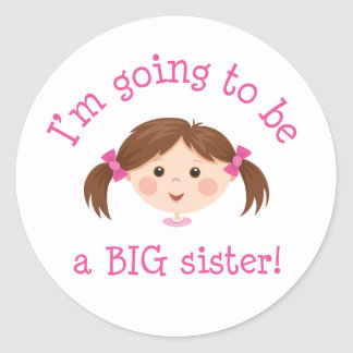 Im going to be a big sister - girl with brown hair classic round sticker