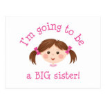 Im going to be a big sister - girl with brown hair postcard
