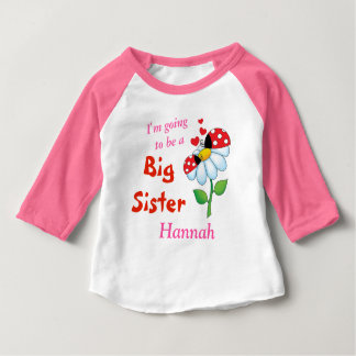 I'm going to be a Big Sister Ladybugs Flower Baby T-Shirt
