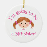 Im going to be a big sister - light brown hair christmas tree ornament