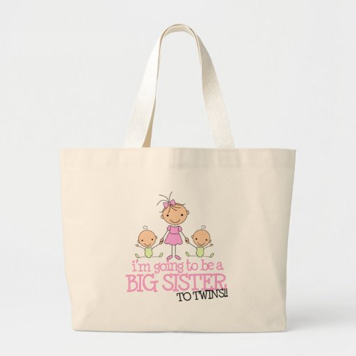 I'm Going to Be a Big Sister to TWINS Canvas Bags