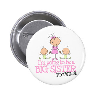 I'm Going to Be a Big Sister to TWINS Pinback Button