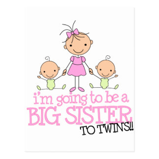 I'm Going to Be a Big Sister to TWINS Postcard