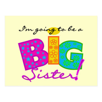 I'm Going To Be A Big Sister Tshirts Postcard
