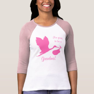 I'm Going To Be A Grandma Hot Pink Stork T-Shirt