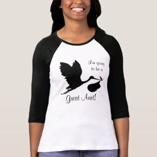 I'm Going to be a Great Aunt Black Stork T-Shirt