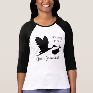 I'm Going to be a Great Grandma Black Stork T-Shirt