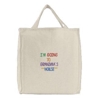 I'M GOING TO GRANDMA'S HOUSE TOTEBAG EMBROIDERED TOTE BAG