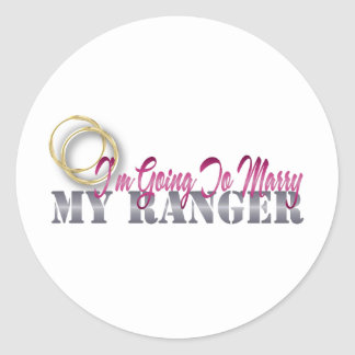 I'm Going To Marry My Ranger Round Stickers
