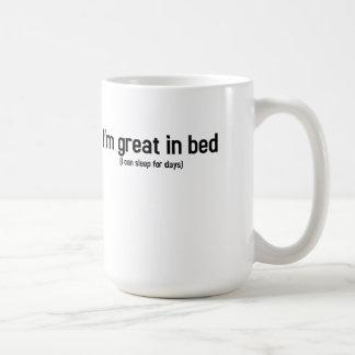 I'm great in bed mug