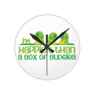 I'm happier than a box of budgies New Zealand Wall Clock