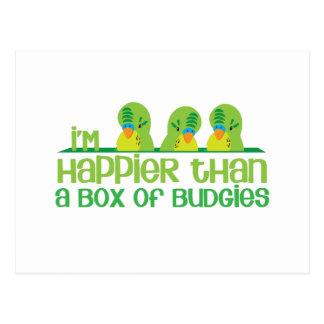 I'm happier than a box of budgies New Zealand Postcard