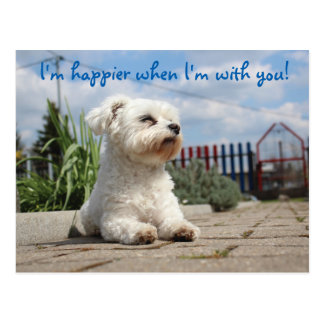 I'm Happier When I'm With You Doggie Postcard