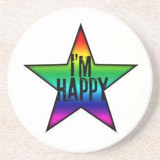 I'm Happy Rainbow Star Gay Coaster