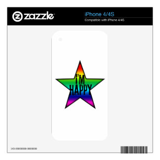I'm Happy rainbow Star Gay Decal For The iPhone 4