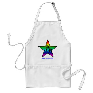 I'm happy to cook for you Star Rainbow Adult Apron