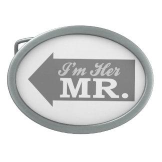 I'm Her Mr. (Gray Arrow) Oval Belt Buckle