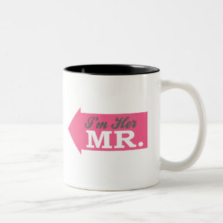 I'm Her Mr. (Hot Pink Arrow) Two-Tone Coffee Mug