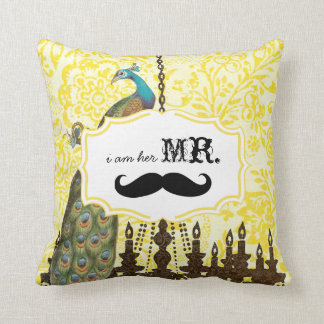 I'm Her Mr. Vintage Floral Mustache Peacock Pillow