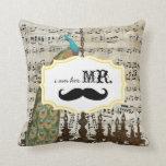 I'm Her Mr. Vintage Sheet Music Mustache Peacock Pillow